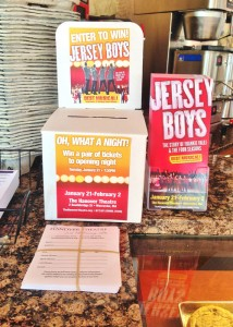 A Jersey Boys enter-to-win promo box at Eric's La Patisserie, located at 446 Main St, 4th Fl in Worcester.